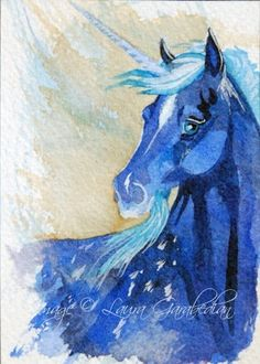 Blue Unicorn ACEO Giclee Print by LauraGarabedian on Etsy