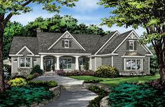 Craftsman house plan by a Washington State designer. The plan includes large master bathroom and closets. House Plans One Story, New House Plans, Dream House Plans, House Floor Plans, My Dream Home, Dream Houses, 2200 Sq Ft House Plans, 1 Story House, One Story Homes