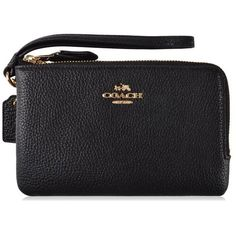Coach Double Zip Wristlet ($88) ❤ liked on Polyvore featuring bags, handbags, clutches, black, coach handbags, wristlet purse, leather handbags, wristlet clutches and double zip purse