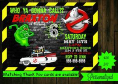 Ghostbusters invitation  printable  ghostbusters birthday