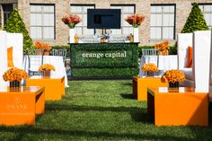 Planned, Designed & Produced by www.swankproductions.com orange capital #swankproductions #corporateparty #620loftandgarden #chic #party #eventplanner #bestofthebest #nyc #reception #colorful #decor #lounge #fun #flowers #rooftop #orange #pillow #ideas #inspiration #beautiful #white #green #bar #sign
