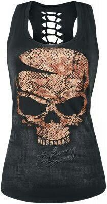 Skull tank top- I love the backbone cut-out on the back