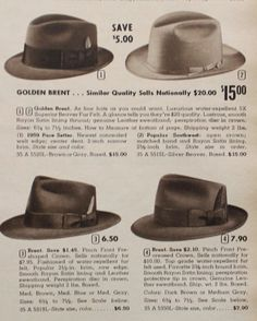 1959 Mens fedora hats More