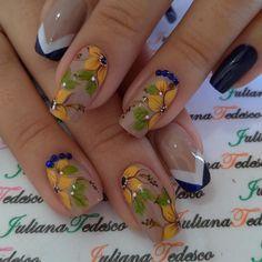 Nail Art Designs Videos, Fall Nail Art Designs, Beautiful Nail Designs, Cute Nail Designs, Bright Nails, Cute Nail Art, Hot Nails, Flower Nails, Happy Nails