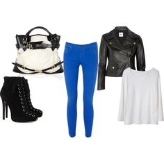Skinny bright blue jeans (day)