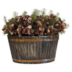 Basket of Christmas Pine Cones