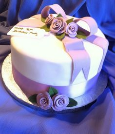 Lilac Rose and Ribbon 90th Birthday Cake