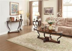 Panne Traditional Warm Cherry Wood Coffee Table Set