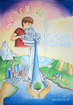 Save Water Drawing Images, Save Water Poster Drawing, Save Earth Drawing, Poster On Save Water, Save Environment Posters, Environment Painting, Save Environment Poster Drawing, Save Water Save Life, Earth Drawings