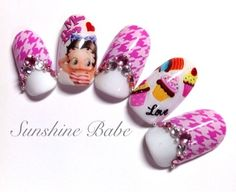 Betty Boop houndstooth nail art