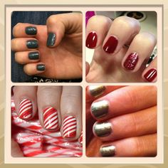 Fall/winter Nails ideas. Love the candy cane stripes for an accent nail.