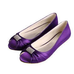 Wawoo Slip On Evening Prom Peep Toe Ballet Flats Pumps Bridal Satin Wedding Shoes Bride Bridesmaid Purple