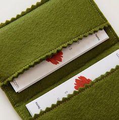 business card case made from wool felt. tutorial