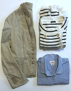 "J.Crew Bundle Size: Medium. The bundle contains:  J.Crew Khaki blazer (pre-owned)- size 6 J.Crew Haberdashery button up blue & white striped blouse (pre-owned)- size Medium  J.Crew Double Breasted Black & White Cardigan Sweater w ruffles (pre-owned) size: Medium. Measurements: sleeve length- 25.5"", pit to pit flat- 19.75"", waist- 37.5"", length- 22"""