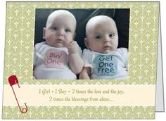 They'll double their pleasure and surely their fun when two adorable babies come into their lives. If your planning a shower for the happy mommy or both parents here is a can't miss invitation your guests will surely comment on. See it and many others at www.irishihadthat.com