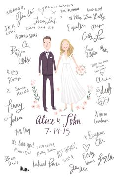 This custom wedding guest book print features a couple illustration and is the perfect guestbook alternative. Your guests will each sign this Wedding Book, Wedding Couples, Wedding Cards, Wedding Day, Wedding Favors, Dress Wedding, Wedding Signs, Gold Wedding, Wedding Reception