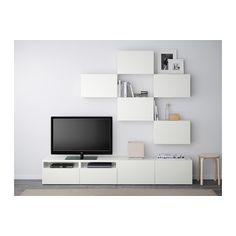 BESTÅ Mobile TV, combinazione - guida cassetto/chiusura silenziosa, Lappviken bianco - IKEA