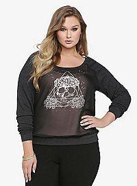 TORRID.COM - Skull Chiffon Front Sweatshirt
