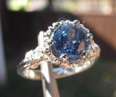 Cornflower blue sapphire by Erica Grace by shawna