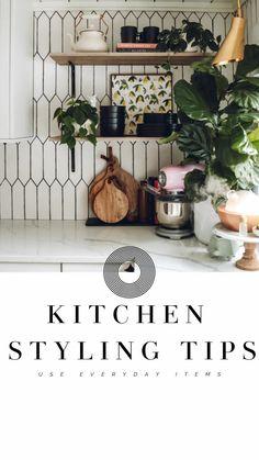 5 Kitchen Styling Tips Kitchen Shelves, Kitchen Items, Kitchen Furniture, Kitchen Decor, Black Dinnerware, Cast Iron Dutch Oven, Wood Cutting Boards, Wood Slab, Small Space Living