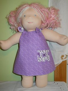 """Reversible Purple Flower and Paisley Shoulder Knot Dress - Waldorf Doll Clothes - 15"""" Bamboletta Size - G. $17.00, via Etsy."""