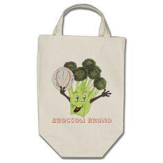 """Broccoli Bruno"" Grocery Bag Grocery Tote Bag"