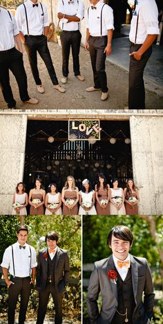 vintage barn wedding attire ideas for groom's men and bridemaids