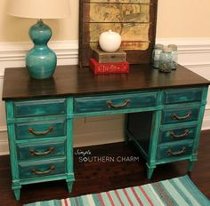 Dumpy to Debutant, the tale of a teal distressed desk Teal Desk, Black Desk, Black Mirror, Dining Table With Bench, A Table, Duck Egg Blue Chalk Paint, Distressed Desk, Chalk Paint Desk, Bedroom Turquoise