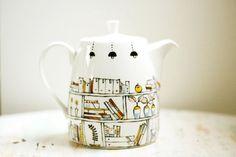 Hand painted teapot Book A Holic fine bone china Painted Bookshelves, China Teapot, Tea And Books, Ceramic Teapots, Porcelain Ceramic, Painted Porcelain, Bookshelf Design, Ceramic Painting, Ceramic Art