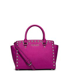 2ac4ac1489 Michael Kors Selma Stud Medium Top Zip Satchel RASPBERRY SILVER    Very  kind of your presence to drop by to see our picture.