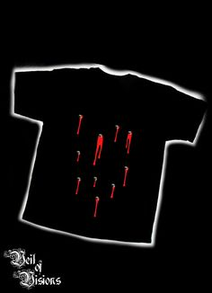 Black t-shirt with blood and metal spikes design.     - Embroidered design will not fade or crack like print! £22