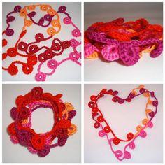 Een lief klein tussendoor haakwerkje:   Een halsketting. Of armband. Kan allebei.        * Haak 12 lossen, maak een halve vaste in de 5e lo...