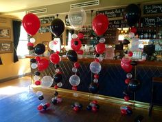 Classic colour combo of red and black, lightened up with diamond clear balloons Clear Balloons, Balloon Gift, Red Party, Colour Combo, Table Arrangements, 1st Boy Birthday, Holidays And Events, Event Decor, Sweet 16