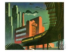 Cityscape Art Print by Pop Ink - CSA Images at Art.com