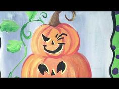 Easy acrylic canvas painting tutorial for beginners by Tracie Kiernan. Learn how to paint this cute Jack O' Lantern Topiary. Pumpkin Canvas Painting, Autumn Painting, Autumn Art, Painting For Kids, Diy Painting, Painting Videos, Easy Paintings, Canvas Paintings, Canvas Painting Tutorials