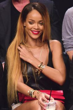 Rihanna is all smiles