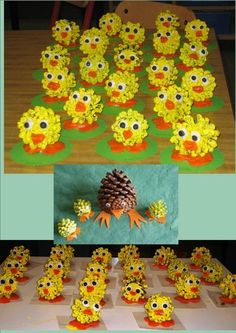Easter chicken craft of pine cones Easter Activities, Preschool Crafts, Fun Crafts, Diy And Crafts, Spring Crafts For Kids, Easter Crafts For Kids, Art For Kids, Pine Cone Crafts For Kids, Pinecone Crafts Kids