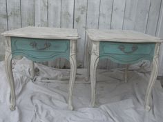 Shabby Chic End Tables Vintage Thomasville White Teal Distressed Rustic Cottage Chic Square Tables Victorian Decor by…