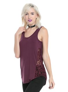 """<div>Little details are what can really make an outfit. The sugar skull crocheted side panels on this burgundy tank top take a plain basic and give it life! pair it with your favorite skinnies and a pair of boots for an amazing day to night look. The rounded hem is a slight hi-low.</div><div><ul><li style=""""LIST-STYLE-POSITION: outside !important; LIST-STYLE-TYPE: disc !important"""">95% rayon; 5% spandex</li><li style=""""LIST-STYLE-POSITION: outside !important; LIST-STYLE-TYPE: disc !import..."""