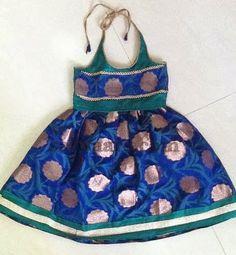Indian Dresses: Sky blue Benaras Frock
