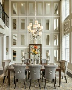 25 Formal Dining Room Ideas  Design Photos    Dining Room Ideas     Beautiful Dining Room decor ideas     Transitional style with grey and cream   full height mirrored wall is so elegant The post Dining Room decor ideas