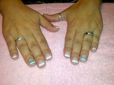Gel nails white tips with green lines!