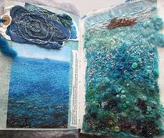 Textile artist photography and mixed media - Carolyn Saxby Textile Art St Ives C . Textile Artist Photography and Mixed Media – Carolyn Saxby Textile Art St Ives Cornwall Carolyn Saxby, Book Art, Creative Textiles, Textiles Techniques, Water Art, A Level Art, Textile Artists, Felt Art, Art Sketchbook