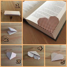 Origami- Herz Lesezeichen Origami heart bookmark Related posts: Personalized bookmark with name of wire … Origami Design, Diy Origami, Origami Star Box, Origami Ball, Origami Love, Origami Fish, Useful Origami, Origami Flowers, Origami Tutorial