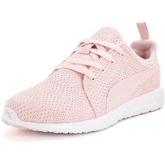 Puma Carson Runner Camo Mesh Womens Trainers (£54) ❤ liked on Polyvore featuring shoes, athletic shoes, pink shoes, lightweight training shoes, pink athletic shoes, puma footwear и summer shoes