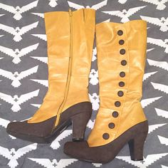 23dba766b01 Womens Knee Hi Boots MIZ MOOZ ANTHEM Mustard and Brown Zip Up Size US 9  .  eBay