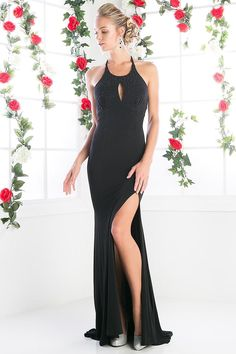 Floor Length Sheath Shape Evening Gowns 2018 with Sequins Embellished Halter Bodice and Keyhole Detail, Open Back with Sequined Straps, Solid Color Long Skirt has Train Detail and High Side Slit. Modest Evening Gowns, Long Black Evening Dress, Prom Dresses 2017, Wedding Dresses, Formal Prom, Dress Formal, Buy Dress, Dress Collection, Ball Gowns