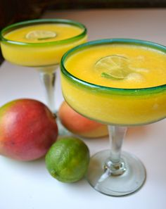 Frozen Mango Margarita  (recipe by shereen pavlides)  2 freshly squeezed limes (1/4 cup) + extra to garnish  1/4 cup light agave nectar  6 ounces tequila gold  4 ounces triple sec  3 cups frozen peeled diced mangoes  2 cups ice    add all ingredients into a blender and blend until smooth. divide and pour among 4 margarita glasses. garnish with lime wheels.  prep time: 8 minutes  Serves: 4