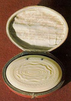 Snuff-box of Peter I  After 1712    Ivory, turning and engraving    1.5 x 8.7 x 6 cm    According to a note enclosed in a snuff-box, the latter was turned by Peter I himself and presented to Countess Chernyshova. In the early 18th century, objects decorated with ivory became very popular in Russia.