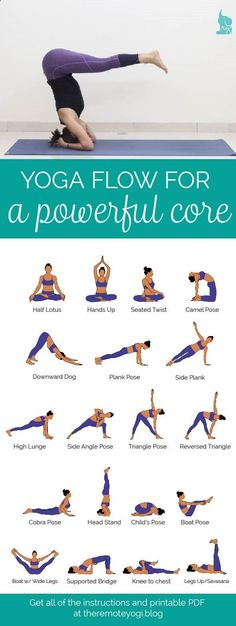 Easy Yoga Workout - Yoga Flow for a Powerful Core - Free PDF Strong abs not only look good, but they help stabilize the body for balancing poses. Download today's free PDF! #YogaPDF #Yogaforabs Get your sexiest body ever without,crunches,cardio,or ever setting foot in a gym